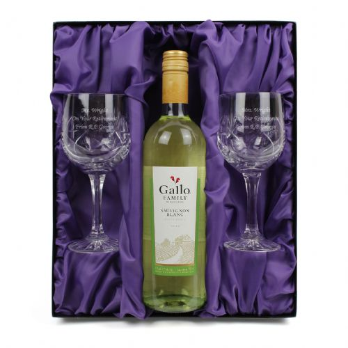Personalised White Wine and Pair of Crystal Glasses